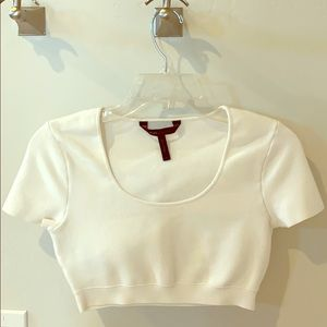 White BCBG crop top
